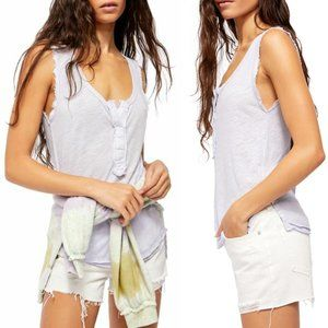 NEW Free People Vacay Linen Blend Tank Lavender XL